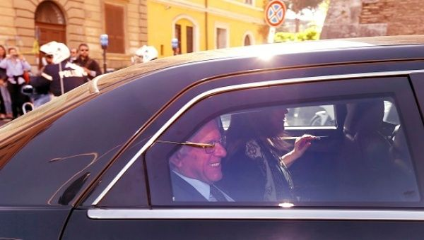 U.S. Democratic presidential candidate Sanders arrives to participate in a conference at the Vatican.