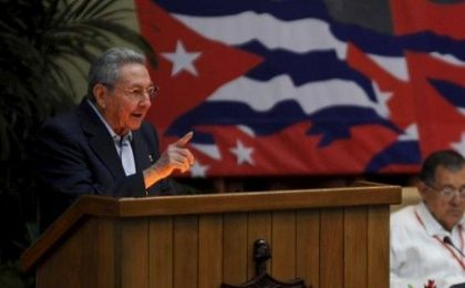 Cuban President Raul Castro addresses his party