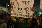 March against TPP in Peru.