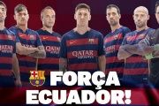 FC Barcelona image to earthquake victims reads