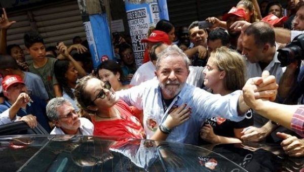 Lula at a campaign rally for President Dilma Rousseff in October 2014.