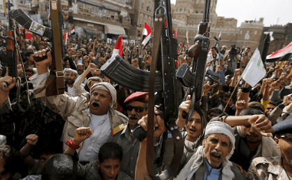 Armed Houthi followers rally against Saudi-led air strikes in Sanaa, Yemen June 14, 2015.