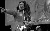 Bob Marley performing.