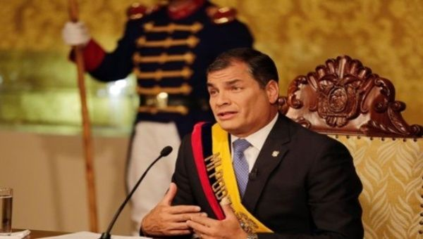 President Rafael Correa speaks from the Presidential Palace in Quito.