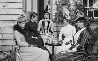 Victorian women at a tea party