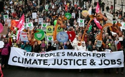 Protesters rally in London on Nov. 29, ahead of the COP21 summit in Paris.