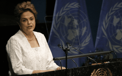 Brazilian President Dilma Rousseff speaks during the signing ceremony on climate change held at the United Nations Headquarters in Manhattan, New York, U.S., April 22, 2016.
