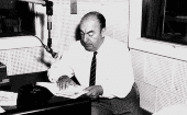 Chilean poet Pablo Neruda recording his poetry at the U.S. Library of Congress in 1966.