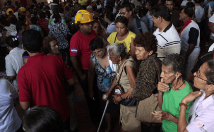 Thousands evacuated for a church in Managua, Nicaragua, April, 14. 2014.