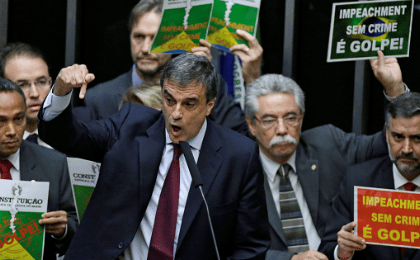 Brazil's General Attorney Jose Eduardo Cardozo speaks during a session to review the request for Brazilian President Dilma Rousseff's impeachment at the Chamber of Deputies in Brasilia, Brazil April 15, 2016.