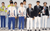 South Korean Olympic athletes and models show the South Korean Olympic team uniforms for the 2016 Rio Olympic Games at the Korean National Training Center in Seoul