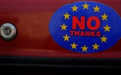 A car sticker with a logo encouraging people to leave the EU is seen on a car, in Llandudno, Wales, Feb. 27, 2016.
