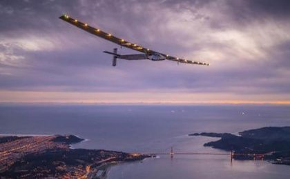 'Solar Impulse 2', a solar-powered plane piloted by Bertrand Piccard of Switzerland, flies over the Golden Gate bridge in San Francisco, California.