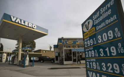 The prices at a Valero Energy Corp gas station are pictured in Pasadena, California Oct. 27, 2015.