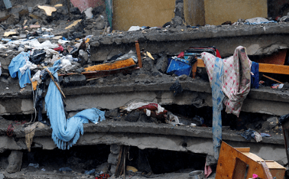 Unrecovered household items are seen trapped in the rubble of a six-storey building that collapsed after days of heavy rain in Huruma neighbourhood of Nairobi, Kenya, May 1, 2016.