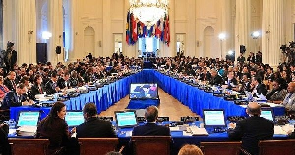 Venezuelan Foreign Minister Delcy Rodriguez addressed the OAS, Thursday, May 5, 2016.