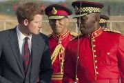 Prince Harry meets soldiers in Jamaica during his last foreign visit.
