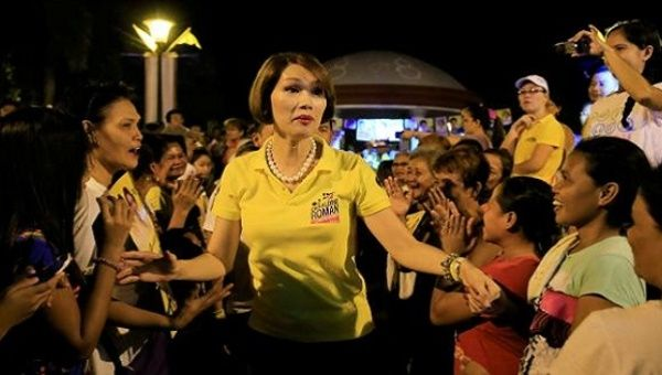 Geraldine Roman, a transgender congressional candidate, is greeted by her supporters in Bataan province, north of Manila in the Philippines May 6, 2016.