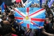 Argentines protest to reclaim the Malvinas Islands.