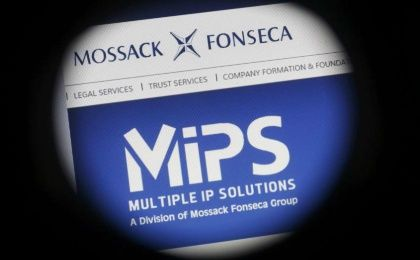 The website of the Mossack Fonseca law firm is pictured through a large format lens in Bad Honnef, Germany