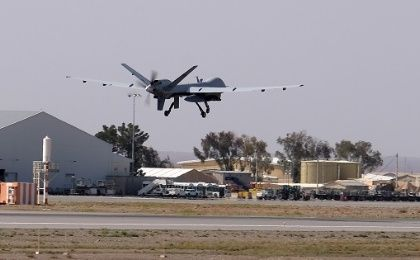 A U.S. Air Force MQ-9 Reaper drone takes off from Kandahar Airfield, Afghanistan.