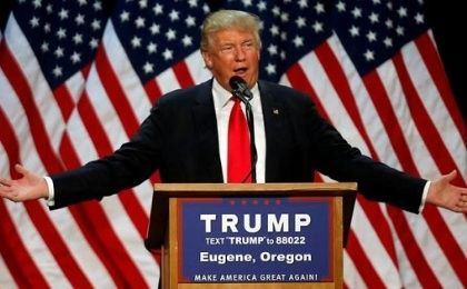 Republican U.S. presidential candidate Donald Trump speaks at a campaign rally in Eugene, Oregon, U.S., May 6, 2016.