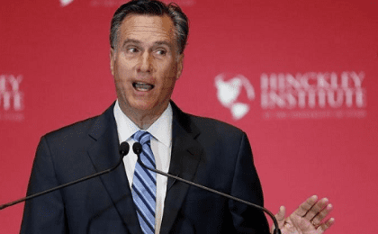 Former Republican U.S. presidential nominee Mitt Romney criticizes current Republican presidential candidate Donald Trump during a speech at the Hinckley Institute of Politics at the University of Utah in Salt Lake City, Utah March 3, 2016.