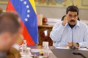 Venezuela's President Nicolas Maduro speaks during a meeting with ministers at the Miraflores Palace in Caracas.