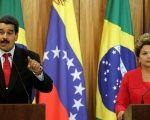 Venezuela's President Nicolas Maduro (L) delivers a statement to the media with Brazil's President Dilma Rousseff at the Planalto Palace in Brasilia.