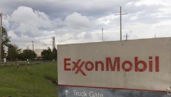 A sign is seen at the entrance of the Exxonmobil Port Allen Lubricants Plant in Port Allen, Louisiana.