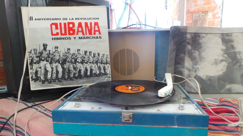 Vinyl records of protest music released during the cuban revolution forms part of the collection.
