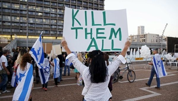 Supporters of Elor Azaria, an Israeli soldier charged with manslaughter, take part in a protest calling for his release in Tel Aviv, April 19.