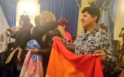 LGBT activists celebrate after the Bolivian Senate approved a gender identity law, La Paz, Bolivia, May 21, 2016.