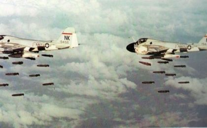 U.S. massively bombed Vietnam killing at least 3.6 million people and injuring over 5 million more.