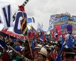 Supporters of Evo Morales join a rally in Bolivia.