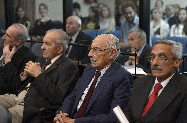 Former Argentine dictator and general, Rafael Videla (2-R) and other defendants are seen during their trials to investigate crimes committed during Operation Condor, in Buenos Aires.