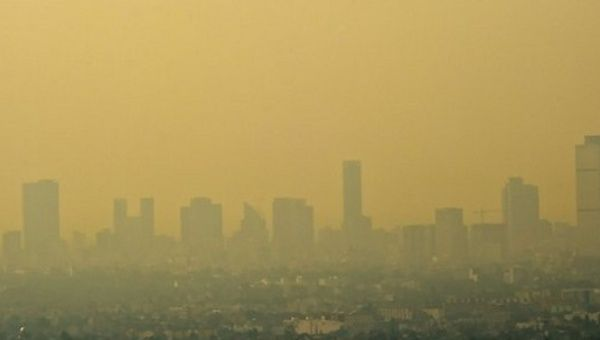 "A view of Mexico City during the ""Phase 1 emergency"" declared in March 2016 as air pollution reached even more alarming levels than usual."