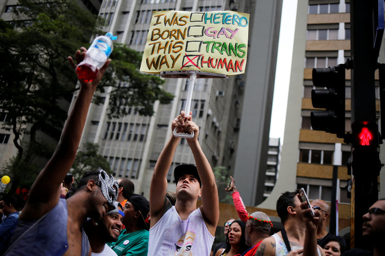 Participants at the Gay Pride continue to fight for recognition in Brazilian society as equals.