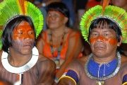 Indigenous people attend a public hearing on human rights issues in Brasilia, Brazil.