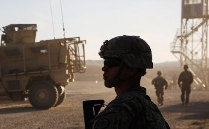 A U.S. soldier from the 3rd Cavalry Regiment provides security during a mission near a base in the Laghman province of Afghanistan.