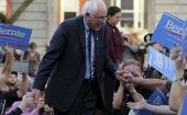 Senator Bernie Sanders greets supporters at a campaign rally outside the New Hampshire State House on Nov. 5, 2015.