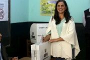 Veronika Mendoza after voting in the Peruvian presidental elections