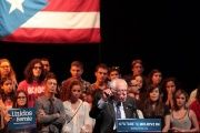 U.S. Democratic presidential candidate Bernie Sanders addresses the audience at the theater of the University of Puerto Rico in San Juan, Puerto Rico.