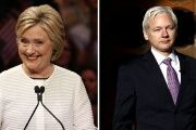 Presumptive Democratic presidential nominee Hillary Clinton and WikiLeaks founder Julian Assange