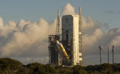 A view of the United Launch Alliance Delta IV Heavy rocket in preparation for the first flight test of NASA's new Orion spacecraft at Cape Canaveral Air Force Station, Florida October 1, 2014.
