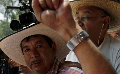 Ruben Nunez, who was arrested this week, takes part in a march against President Pena Nieto