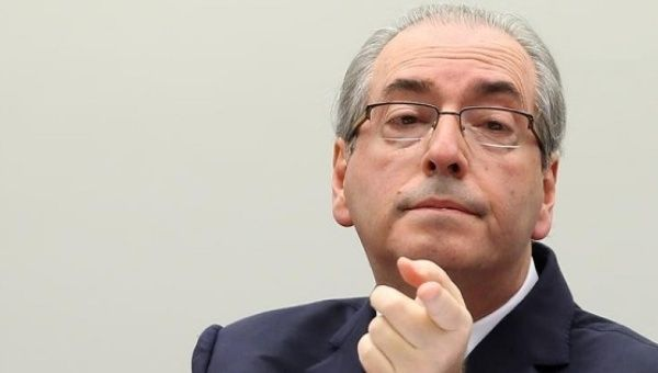 Eduardo Cunha gestures during his defense in an ethics committee hearing in the lower house, in Brasilia, Brazil, May 19, 2016.