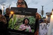 Demonstrators march in memory of murdered Indigenous leader Berta Caceres on International Women's Day in La Esperanza, Honduras.