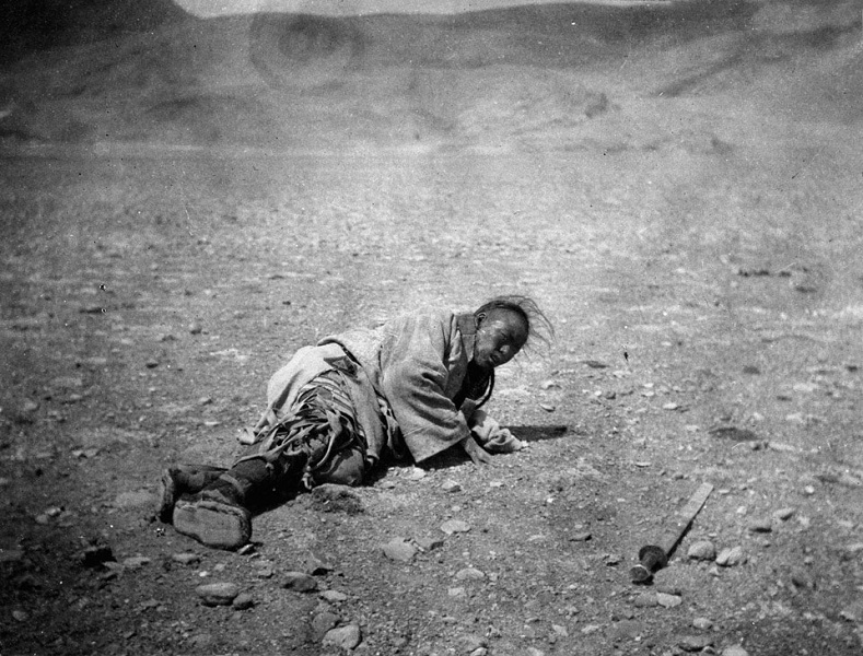 "On March 31 1904 hundreds of Tibetans were slaughtered by the British with Maxim machine guns. The order from the British was ""to make as big a bag as possible."" The day after the massacre Colonel Younghusband, who led the British invasion into Tibet, stated ""I trust the tremendous punishment they have received will prevent further fighting, and induce them at last to negotiate"""