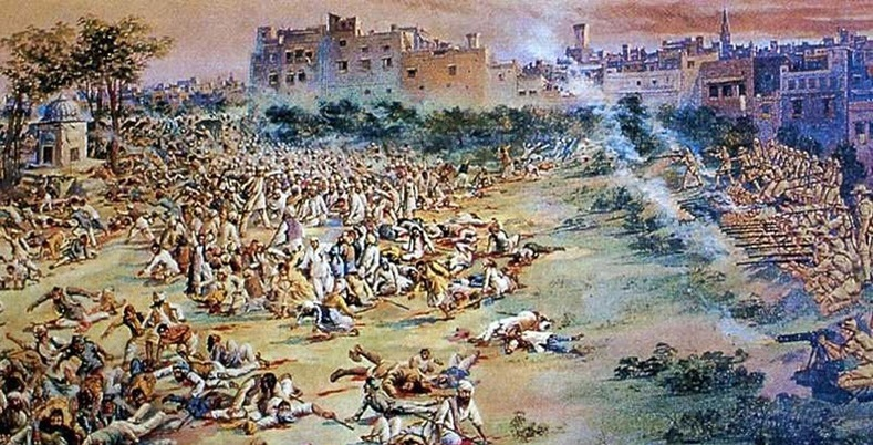 In colonial Amritsar, India, on 13 April 1919, British troops under the command of General Dyer fired into a crowd who had gathered at the Jallianwala Bagh public gardens for 10 minutes. Fire was directed towards to the few open gates through which people were trying to flee. Reginald Dyer who ordered the massacre was hailed a hero in Britain.